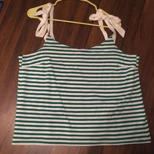 J. Crew green/white top. New with tags!!